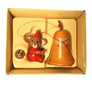 Vintage Russ Berrie & Co Wooden Bell with Mouse